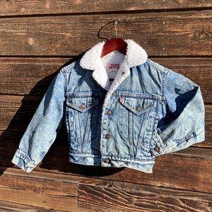 Vintage, Levi's Fur Lined Denim/ Jean Jacket Acid Wash Small